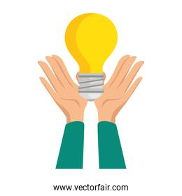 hands human with bulb light