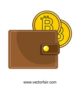 wallet with bitcoin isolated icon