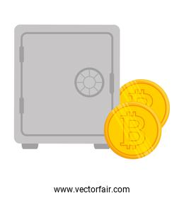 safe box with bitcoin isolated icon