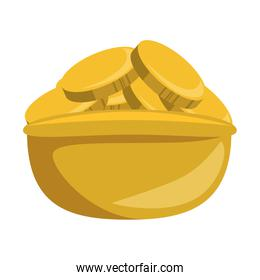 coins in bowl isolated icon