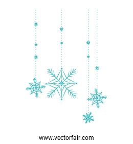 snow flakes hanging isolated icon