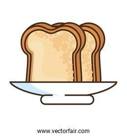 breakfast dish with bread slices isolated icon