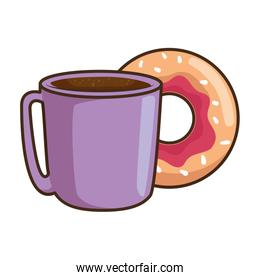 delicious sweet donut with coffee cup