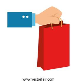 hand with shopping bag isolated icon