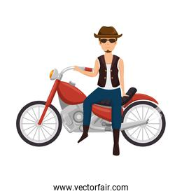rough motorcyclist with hat avatar character