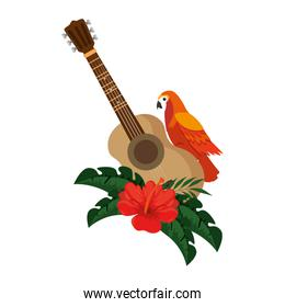 cockatoo exotic bird with flowers and guitar