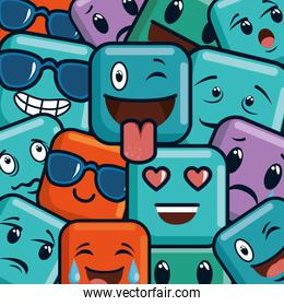 faces emojis characters pattern