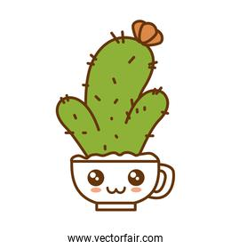 pot with desert plant kawaii character