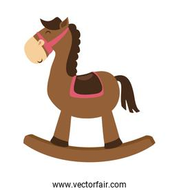 cute wooden horse toy isolated icon