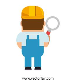 funny builder with magnifying glass avatar character
