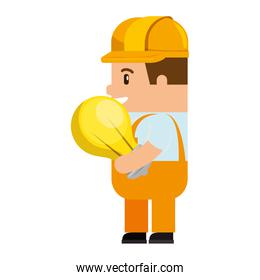 funny builder with bulb avatar character
