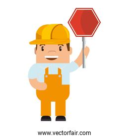 funny builder with traffic signal avatar character
