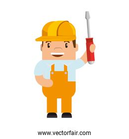 funny builder with screwdriver avatar character