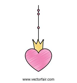 heart with crown hanging decorative icon