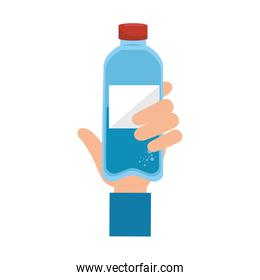 hand with bottle water plastic