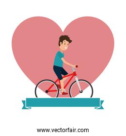 man riding bicycle with heart love
