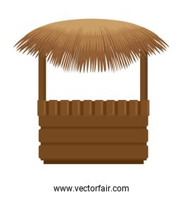 wooden kiosk and palm leaves