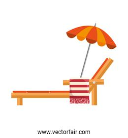 beach chair with towel and umbrella