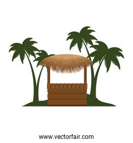 wooden kiosk and palm leaves on the beach