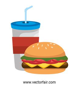 beverage in plasttic cup with burger