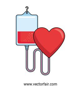 blood bag donation with heart