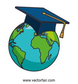 earth planet with hat graduation
