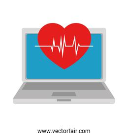 laptop computer with heart cardio