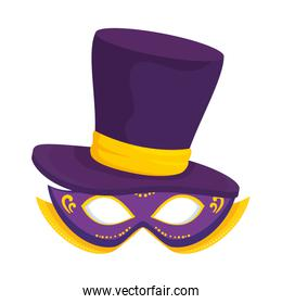 carnival mask with gentleman hat