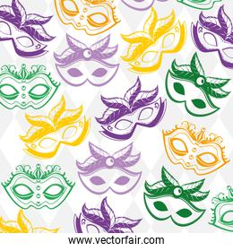 carnival mask with feathers pattern background