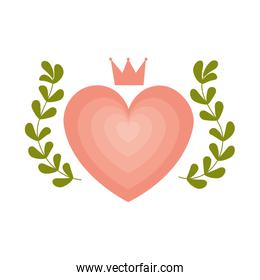 heart love with wreath and crown