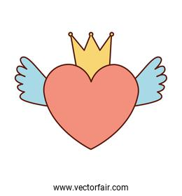 heart love with crown and wings