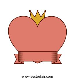 heart love with crown and ribbon