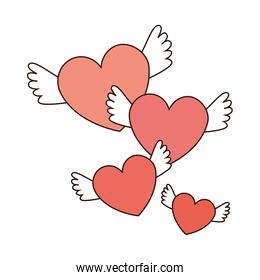 hearts love with wings