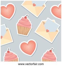 love envelope with heart and cupcake