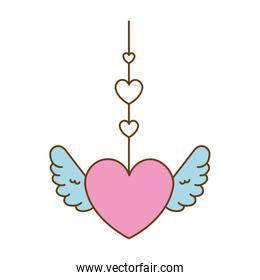 heart love hanging with wings