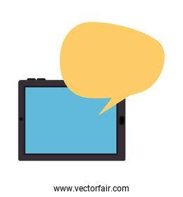 tablet device with speech bubble