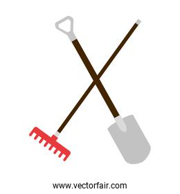 gardening shovel and rake isolated icon