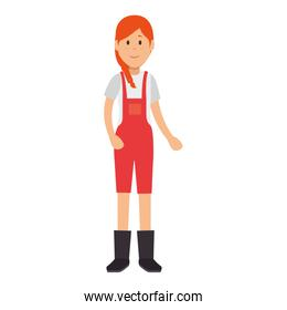woman gardener with overalls avatar character
