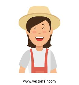 woman gardener with overalls and hat avatar character