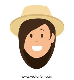woman gardener with hat isolated icon