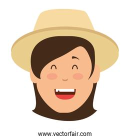 woman gardener with hat avatar character