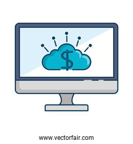 monitor computer with cloud and dollar symbol