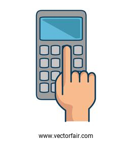 hands with calculator math isolated icon
