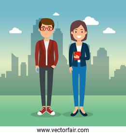 couple in cityscape characters