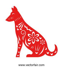 chinese dog silhouette isolated design