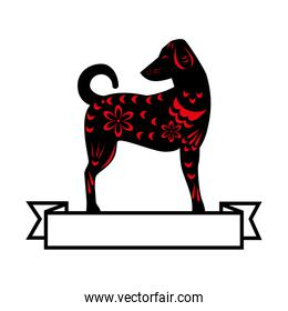 chinese dog silhouette isolated icon