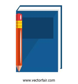 text book with pencil