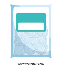 bag with ice cubes isolated icon
