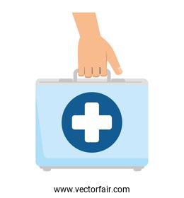 hand with medical kit
