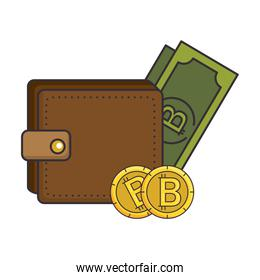 wallet with bill virtual money icon